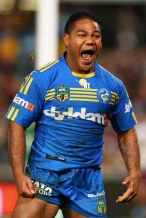 Chris Sandow of the Eels celebrates scoring a try only to have it disallowed.