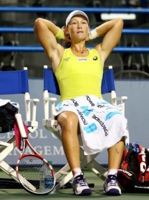 Samantha Stosur sits in between games during her match against  Petra Kvitova.