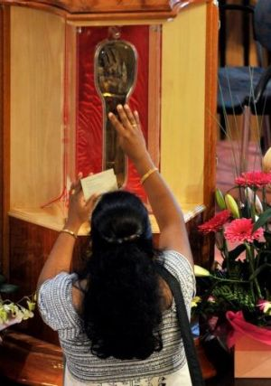 Relic: A rare relic of St Francis Xavier (his right hand) at the Goan community mass, Monash university, in 2012.