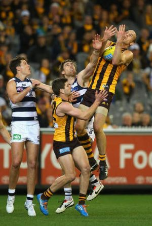 All hail David: Hawthorn's David Hale marks in forward line.