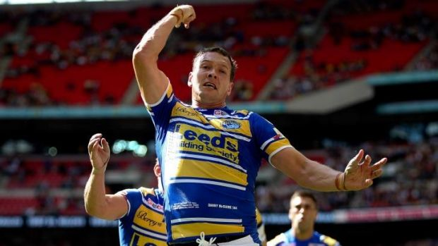 Try time: Leeds' Danny McGuire celebrates after scoring a try against Castleford in the Challenge Cup final.