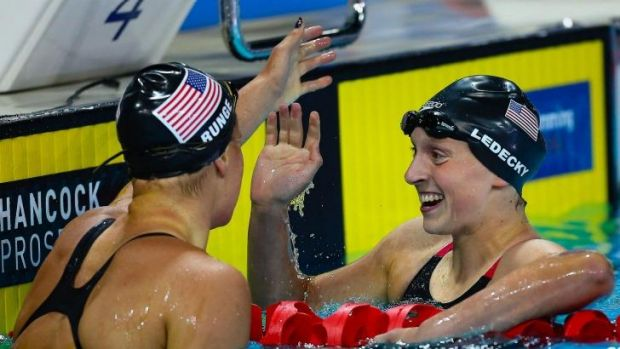 Ledecky celebrates after the 400-metre freestyle final on the Gold Coast.