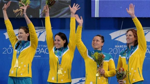 Cate Campbell, Emily Seebohm, Lorna Tonks and Alicia Coutts after their 4 x 100m medley relay victory.