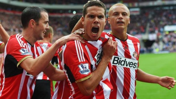 Jack Rodwell celebrates after scoring for Sunderland against Manchester United.