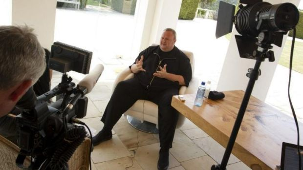 Renegade New Zealand politician Kim Dotcom speaks to the media.