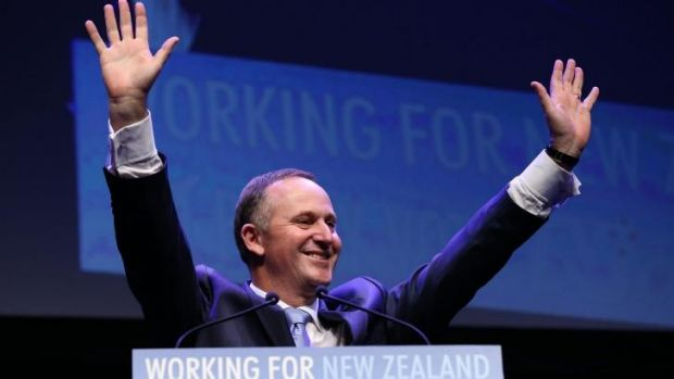 Leader of the National Party, Prime Minister John Key, at his party's election launch.