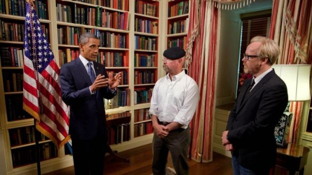 Powerful friends: Barack Obama with Mythbusters  co-hosts Jamie Hyneman, centre, and Adam Savage in the  White House library.
