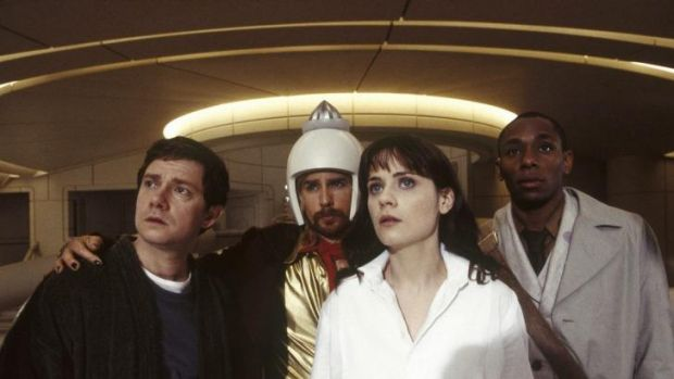 Lost in space: Arthur (Martin  Freeman), Zaphod (Sam Rockwell), Trillian (Zooey Deschanel) and Ford Prefect (Mos Def) in ...