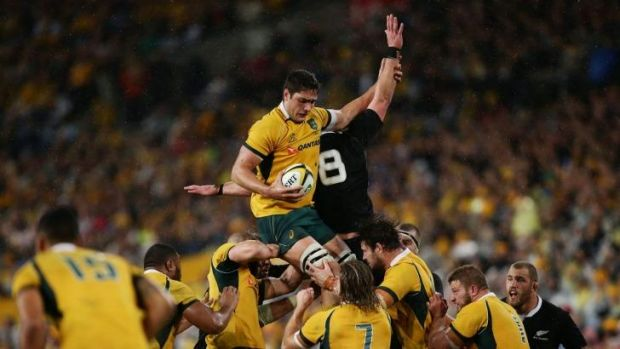 All lined up: Rob Simmons of the Wallabies takes the catch.