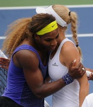 Serena Williams and Wozniacki embrace after a match at the Western & Southern Open.