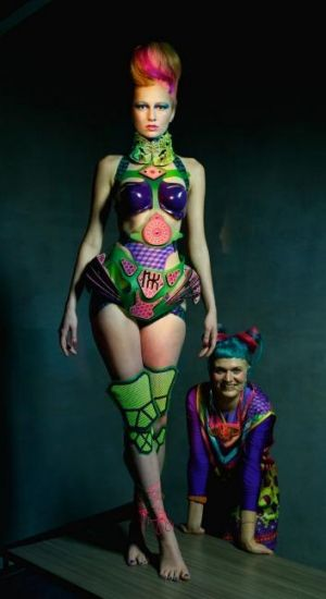 Coloured up: Designer Nixi Killick with one of her outfits worn by model Kepsibel from Chadwicks. Hair and make-up by ...