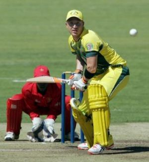 Brad Haddin keeps his eye on the ball.