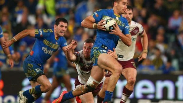 On the hop: Norman in action against the Bulldogs.