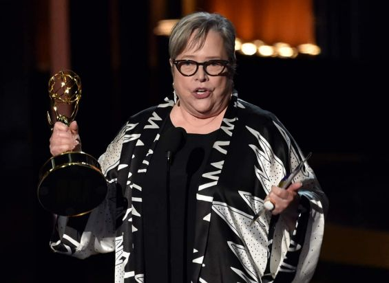 Kathy Bates (<i>American Horror Story: Coven</i>)collects the Emmy for outstanding supporting actress in a miniseries or ...