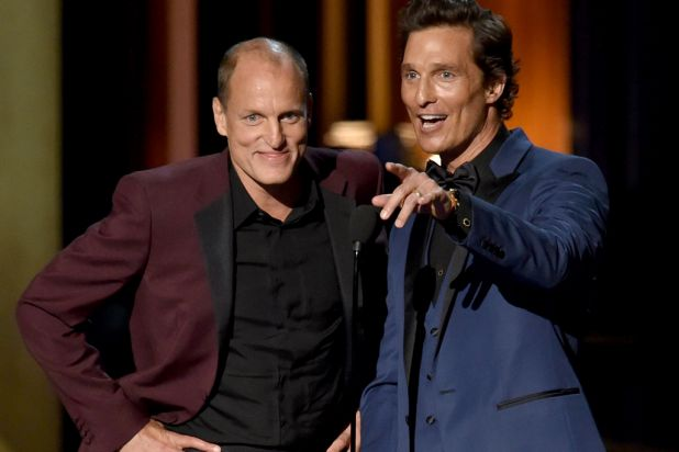 <i>True Detective</i> stars Woody Harrelson and Matthew McConaughey on stage.