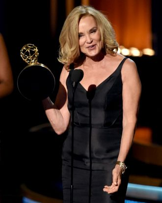 Jessica Lange collects the Emmy for outstanding lead actress in a miniseries or telemovie for <i>American Horror Story: ...