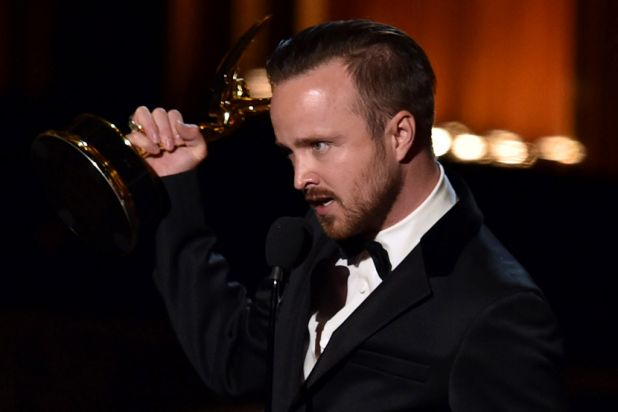 <i>Breaking Bad</i> star Aaron Paul with the Emmy for outstanding supporting actor in a drama series.
