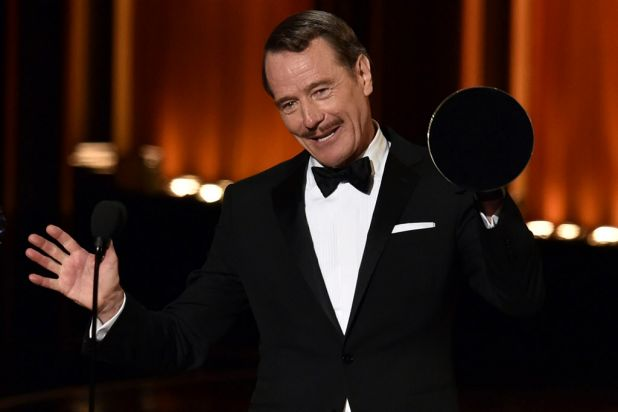 Bryan Cranston dedicates his Emmy to 'all the Sneaky Petes of the world'.