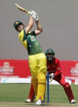 On the rise: Australian Mitchell Marsh bats during the one day international tri-series opening match against Zimbabwe.