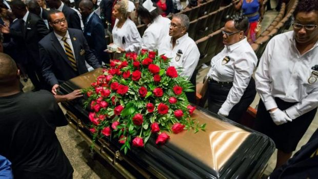 The casket of slain 18-year-old Michael Brown at the funeral service.
