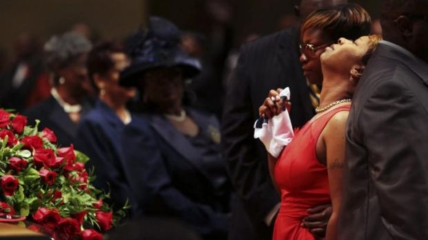 Lesley McSpadden during the funeral for her son Michael Brown.