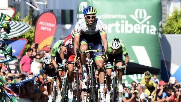 Australian rider Michael Matthews crosses the finish line of the third stage of the La Vuelta first on Monday.
