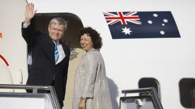 """""""Kevin 747"""": Former prime minister Kevin Rudd and his wife Therese Rein on their way to a meeting with US President ..."""