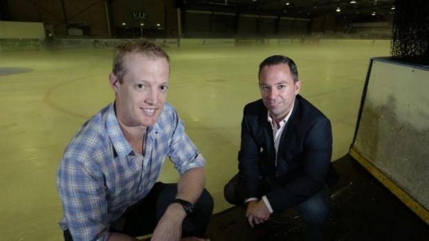 CBR Brave captain Mark Rummukainen and chairman Peter Chamberlain at the Phillip Swimming and Ice Skating Centre.