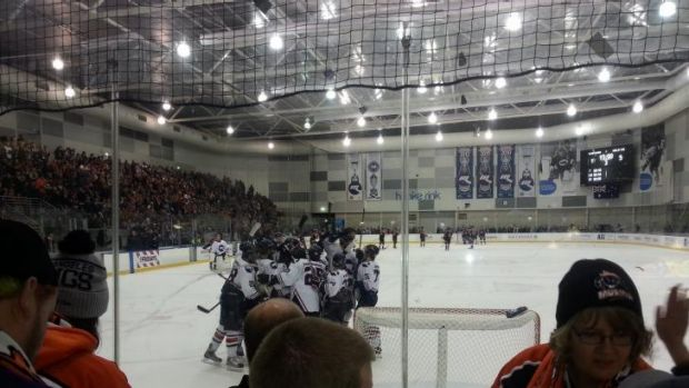 Melbourne Ice celebrates its 5-1 derby victory over the Mustangs.