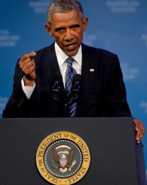 Mobilising: US President Barack Obama speaks at the American Legion National Convention in Charlotte, New Carolina.