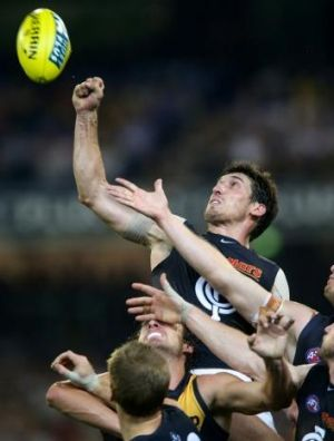 Long year: Defender Michael Jamison hopes the Blues can deliver a knockout blow to Essendon.