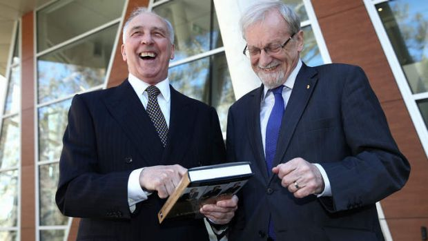 Former prime minister Paul Keating with former minister Gareth Evans on Wednesday.