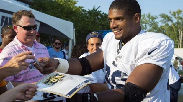 Openly gay: St Louis Rams defensive lineman Michael Sam.