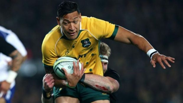 Wanted man: Israel Folau plays against the All Blacks.