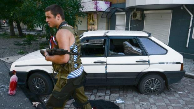 A pro-Russian rebel in Donetsk.