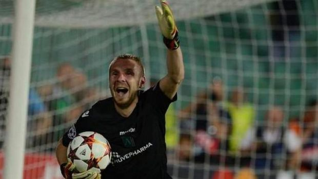 Cosmin Moti celebrates after one of his penalty saves.