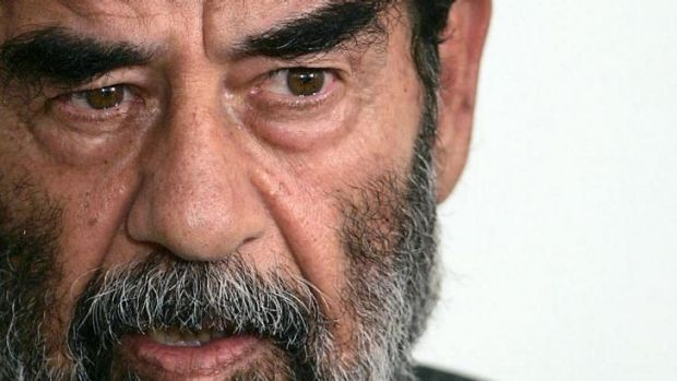 Former Iraqi dictator Saddam Hussein addressing a court in Baghdad in 2004.