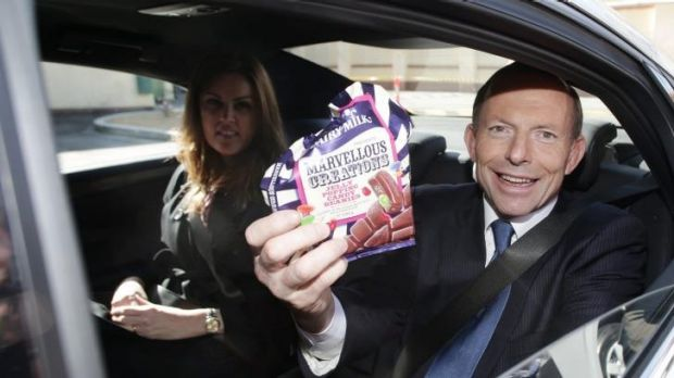 Then opposition leader Tony Abbott during a visit to the Cadbury factory during the 2013 election campaign.