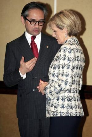 Foreign Minister Julie Bishop and her Indonesian counterpart, Marty Natalegawa, in Bali on Thursday.