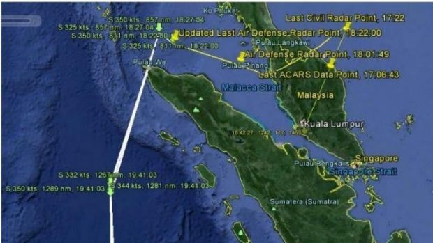 The flight path of Malaysia Airlines flight MH370, according to radar and satellite data.