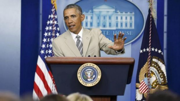 US President Barack Obama addresses reporters at the White House.