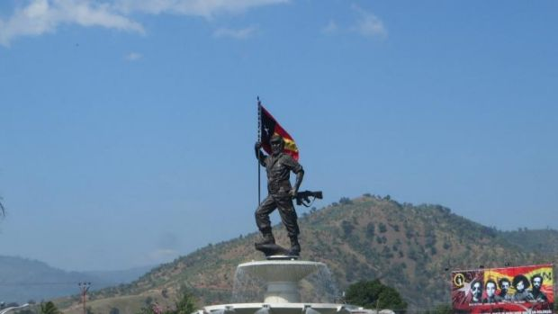 A statue of independence hero Nicolau dos Reis Lobato greets visitors to East Timor as they enter Dili.