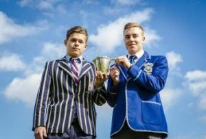Patrick Rumble, captain of Canberra Grammar, left, and Jordan Jackson-Hape, captain of St Edmund's College.