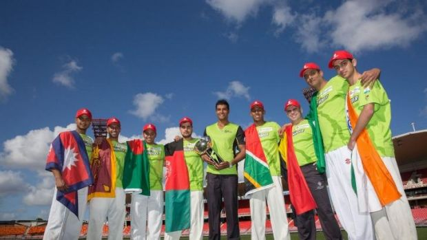 Nations unite: Representatives of the eight nations to  in the Thunder Nation Cup with Sydney Thunder's Gurinder Sandhu.