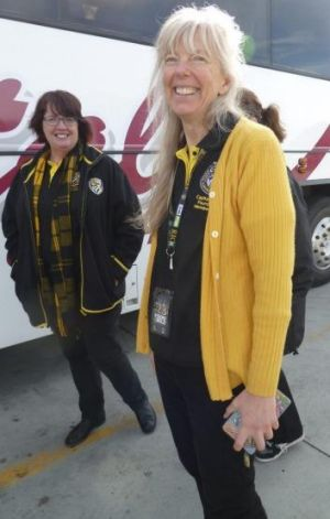 Tiger pilgrims:  Sandra Brown (left) and Cassandra Hall, about to catch a bus to  Sydney.