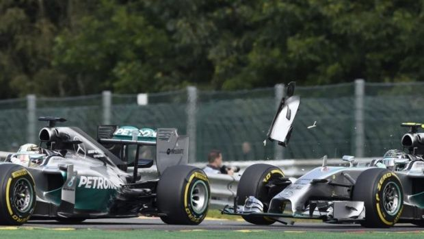 The collision between Lewis Hamilton (left) and Nico Rosberg on August 24.
