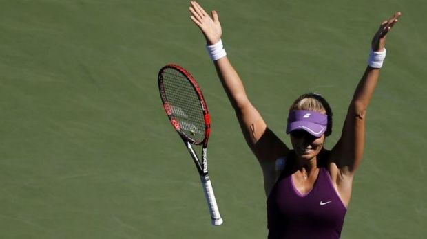Croatia's Mirjana Lucic-Baroni celebrates after eliminating second seed Simona Halep of Romania from the US Open.