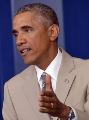 US President Barack Obama during a press conference at the White House on August 28.