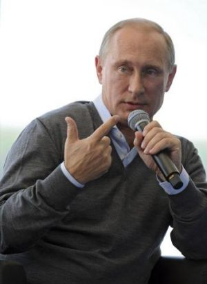 Russian President Vladimir Putin speaks at ayouth forum in the Tver region.