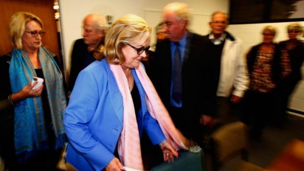 AUCKLAND, NEW ZEALAND: Judith Collins arrives to make a statement to the media following her resignation.